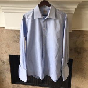 Men's IKE BEHAR Light Blue Shirt  w/Stripes, 17-L
